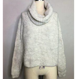 Zara Knit Ivory Cowl Turtle Neck Cropped  Sweater